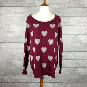 Torrid Wide Scoop Neck Heart Sweater Size 2